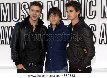 Justin Timberlake, Jesse Eisenberg, and Andrew Garfield at the 2010 MTV Video Music Awards held at the Nokia Theatre L.A. Live in Los Angeles, USA on September 12, 2010. - stock photo