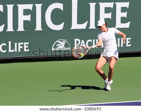 Justine Henin-Hardenne at Pacific Life Open - stock photo