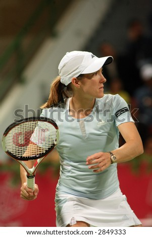 Justine Henin in action at the Qatar Total Open, March 2007, which she won - stock photo