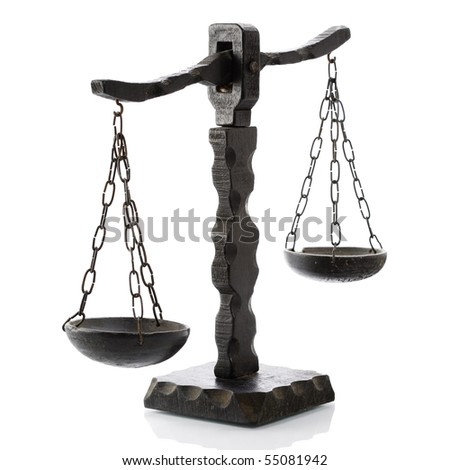 Justitia horizontal wooden over white - stock photo