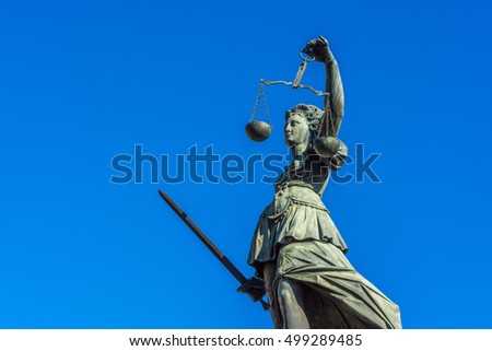 Justitia monument in Frankfurt with clear sky