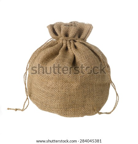 Jute bag isolated on white background