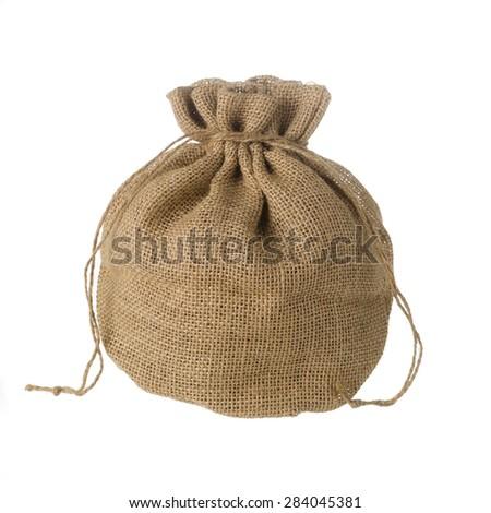 Jute bag isolated on white background - stock photo