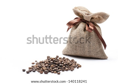 jute bag of coffee with coffee beans on white background