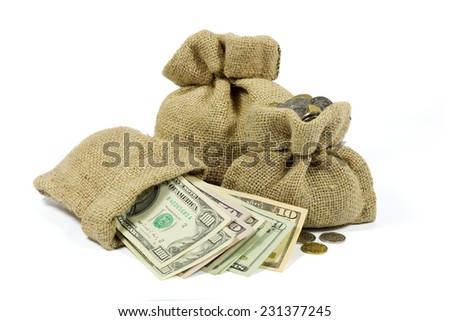 Jute Bags Full of Money Isolated on White Background - stock photo