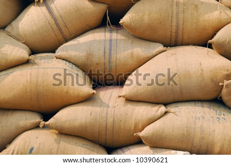 jute burlap bags background - stock photo
