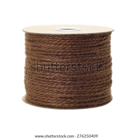Jute rope roll over white background - stock photo