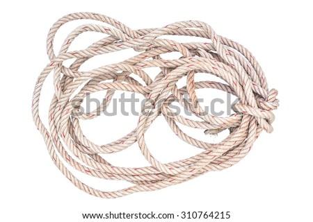 jute rope tangle isolated on white background - stock photo