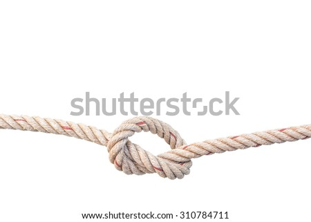 jute rope with knot isolated on white background - stock photo