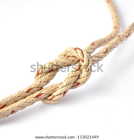 Jute Rope with Reef Knot on White Background