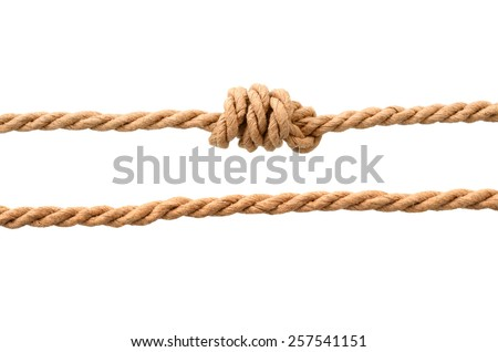 jute ropes with knot isolated on white background
