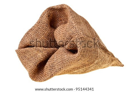 Jute sack isolated over white background. - stock photo