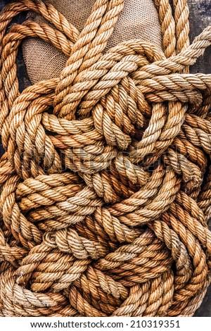 jute tackle ropes  - stock photo