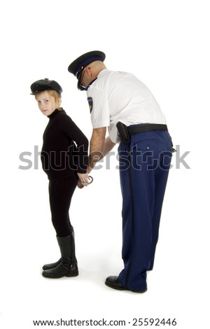 juvenile is been arrested by a dutch police officer on white - stock photo