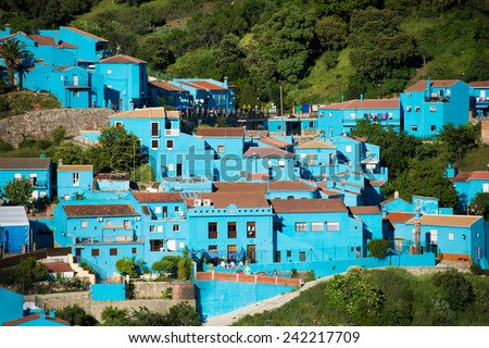 Juzcar, blue Andalusian village in Malaga, Spain. village was painted blue - stock photo
