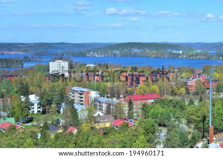 Jyvaskyla, Finland. Top-view of the city from the mountain Harju in a sunny spring day