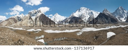 K2 and Karakorum Peaks Panorama at Concordia, Pakistan. K2, Broad Peak and Gasherbrum IV towering above Baltoro Glacier.