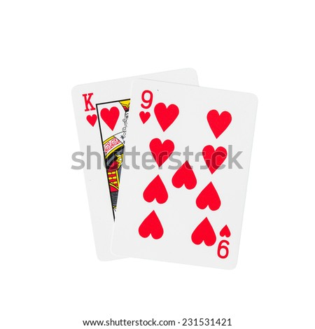 K and 9 playing cards in hearts