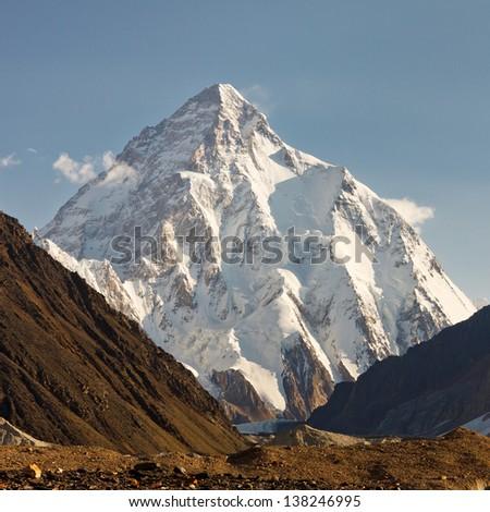 K2 in the Karakorum Mountains, Pakistan, in early morning light. - stock photo