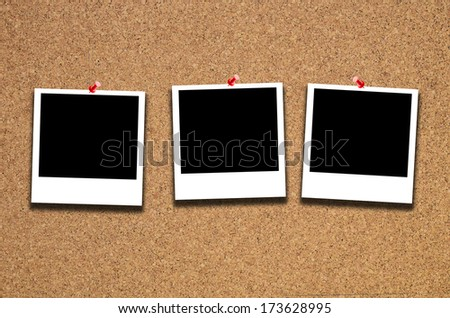 k instant photos pinned to a cork board with clipping path