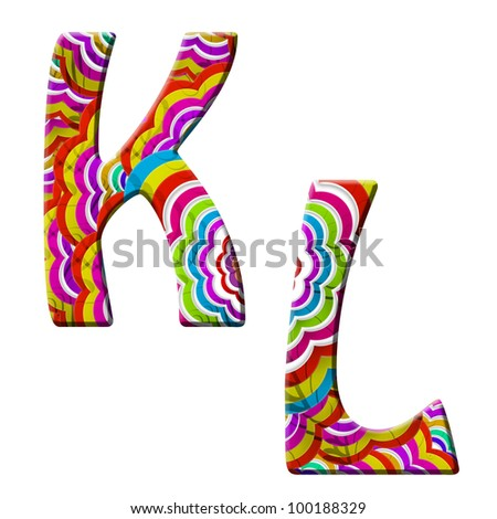 K, L, Colorful wave font isolated on white. - stock photo