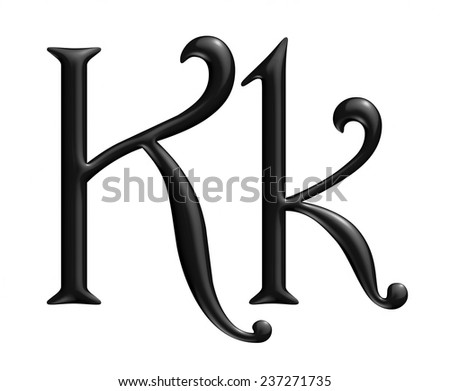 K Ornamental letter on isolated white background. - stock photo