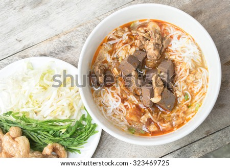 Ka-Nom-Jeen , famous food of Northern Thailand - stock photo