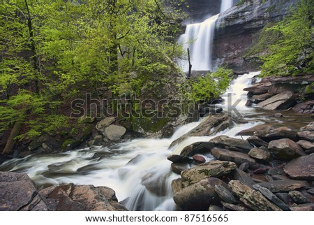 Kaaterskill falls (Catskill mountains, NY) on a rainy day. - stock photo