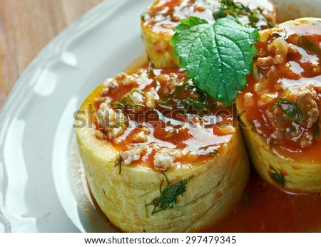 Kabak dolmas���± - zucchini stuffed with rice and meat.Turkish cuisine - stock photo