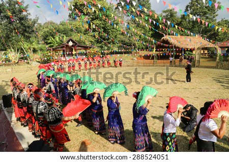 Kachin Manau Festival: Manau traditional event of Kachin's tribe to worship God and wish The king of Thailand on 6 December 2014 at Banmai Samahki, Chiang Dao, Chiang Mai, Thailand
