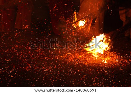 KADAMMANITTA, INDIA - APRIL 21: People holding fire parading at the annual Padayani festival on April 21, 2013 at Kadammanitta temple,Kerala, India. Padayani is a ritualistic dance drama of Kerala.
