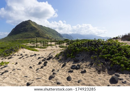 Kaena point, the most western point on the island of Oahu, Hawaii - stock photo
