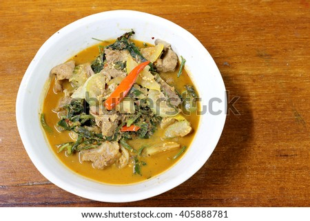 Kaeng Khae Kai. Curry County with Chicken and mixed vegetables with a Northern Spices, Northern Style Chicken spicy Curry with vegetables, Northern style Curry,Thai northern style food. - stock photo
