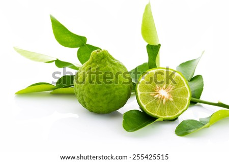 Kaffir lime fresh and leaf isolated on white background. - stock photo
