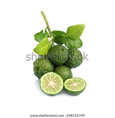 Kaffir Lime on white backgrounds - stock photo
