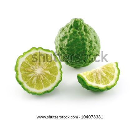 Kaffir lime slice on white background - stock photo