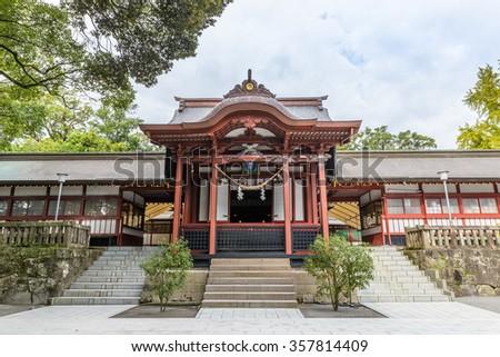 KAGOSHIMA, JAPAN - 30 NOV, 2015: Kagoshima Shrine is a Shinto shrine located in Kirishima, Japan. It is dedicated to Hoori, Toyotama-hime, Emperor Chuai, Emperor Ojin and Empress Jingu. - stock photo