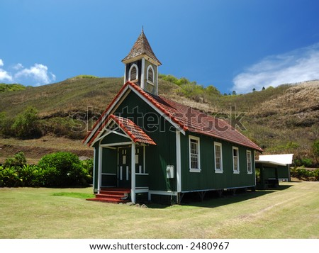 Kahakuloa Congregational Church in Maui Hawaii - stock photo