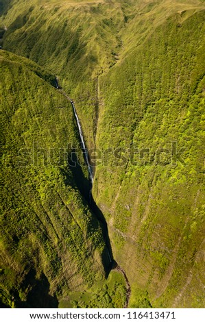 Kahiwa falls picture taken from helicopter, Molokai island, Hawaii - stock photo