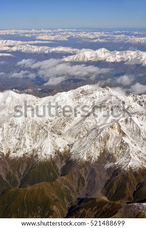 Kaikoura, New Zealand - November 17, 2016: Aerial view of the Earthqake Faultine and slips in a Mountain Valley behind the town of Kaikoura, NZ.
