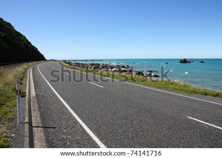 Kaikoura, South Island of New Zealand. Beautiful coastline road. - stock photo