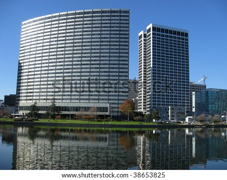 Kaiser Center and Ordway Building, downtown Oakland, California - stock photo