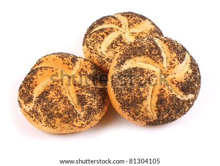 Kaiser roll with poppy seed - stock photo