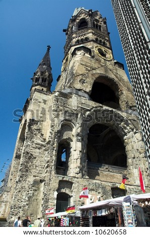 Kaiser Wilhelm Memorial Church in Berlin, germany. - stock photo