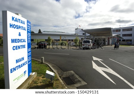 KAITAIA, NZ - AUG 15:Kaitaia hospital on Aug 15 2013.Kaitaia Hospital is Northland DHB's northernmost hospital.It is a general hospital serving a widely scattered population. - stock photo
