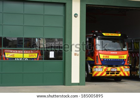 KAITIA ,NZ - MAR 27 2014: New Zealand Fireservice station.It's NZ's main firefighting body, primarily responsible for providing fire protection to urban and peri-urban areas of the country. - stock photo