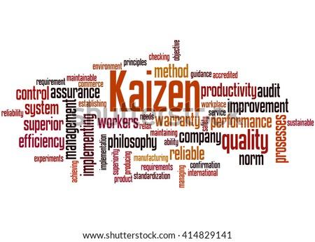 Kaizen - continuous improvement process, word cloud concept on white background. - stock photo