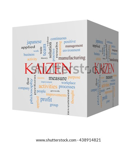 Kaizen 3D cube Word Cloud Concept with great terms such as improvement, positive, success and more. - stock photo