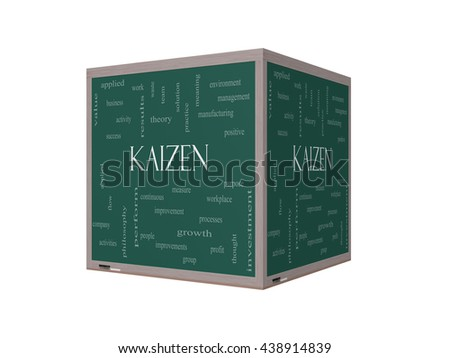 Kaizen Word Cloud Concept on a 3D Blackboard with great terms such as improvement, positive, success and more. - stock photo