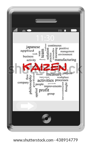 Kaizen Word Cloud Concept on a Touchscreen Phone with great terms such as performance, improvement, philosophy and more. - stock photo